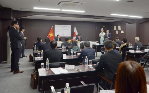 Quang cảnh buổi lễ ký bản ghi nhớ về Chương trình thực tập sinh kỹ năng Việt Nam tại Nhật Bản. Ảnh: Thành Hữu, Gia Quân - phóng viên thường trú TTXVN tại Nhật Bản.