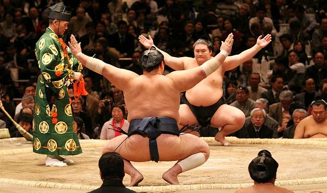 Hai đô vật sumo trong một buổi thi đấu