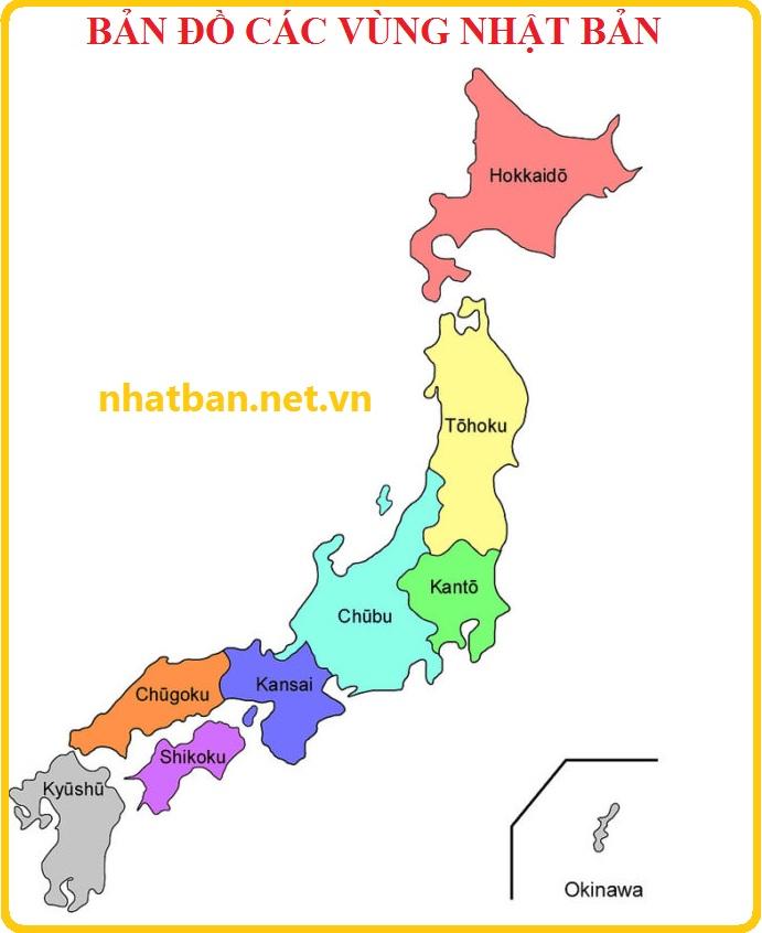 Bản đồ các vùng đất nước Nhật Bản