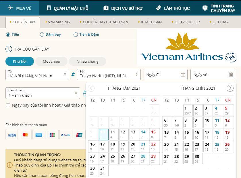 Đặt vé Online của hãng VietnamAirlines