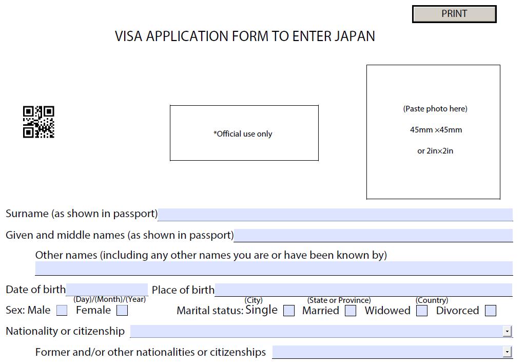 Form khai visa nhật bản