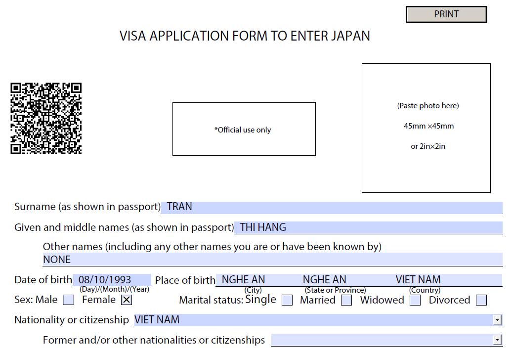 form xin visa nhật bản